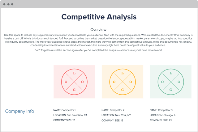 Competitive Analysis Template and Examples | Xtensio