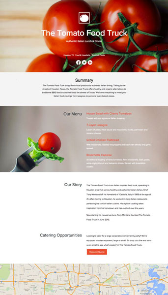 tomato company sample one pager