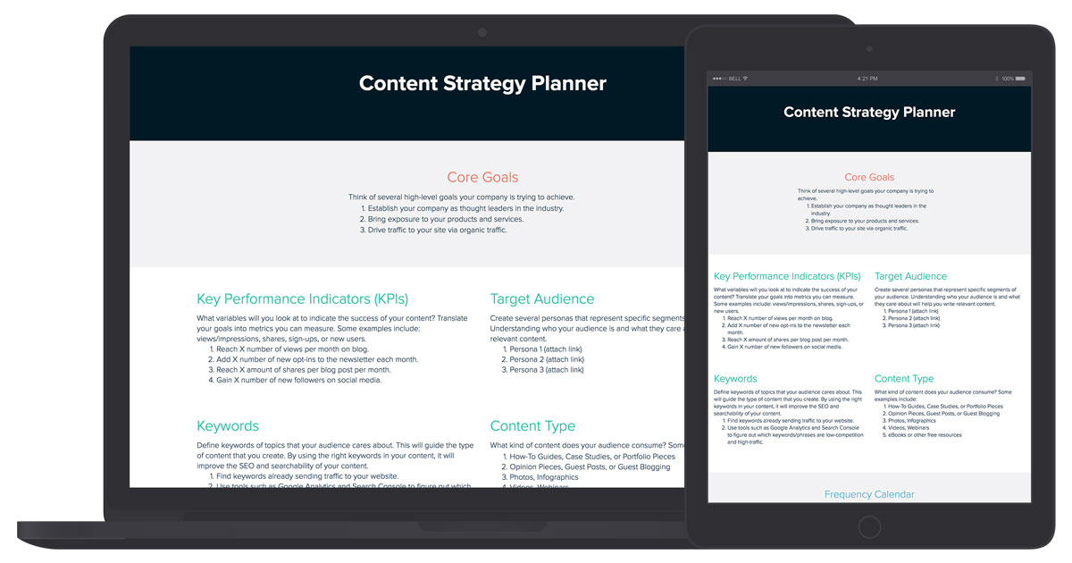 Free Content Strategy Planner Template Xtensio