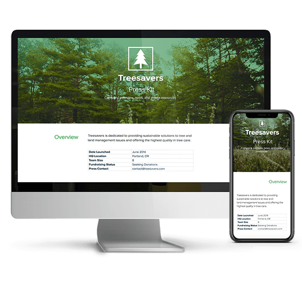 media kit example: treesavers