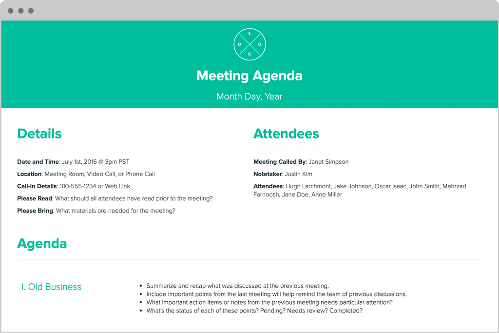 Meeting Agenda by Xtensio Its free – Meeting Agenda