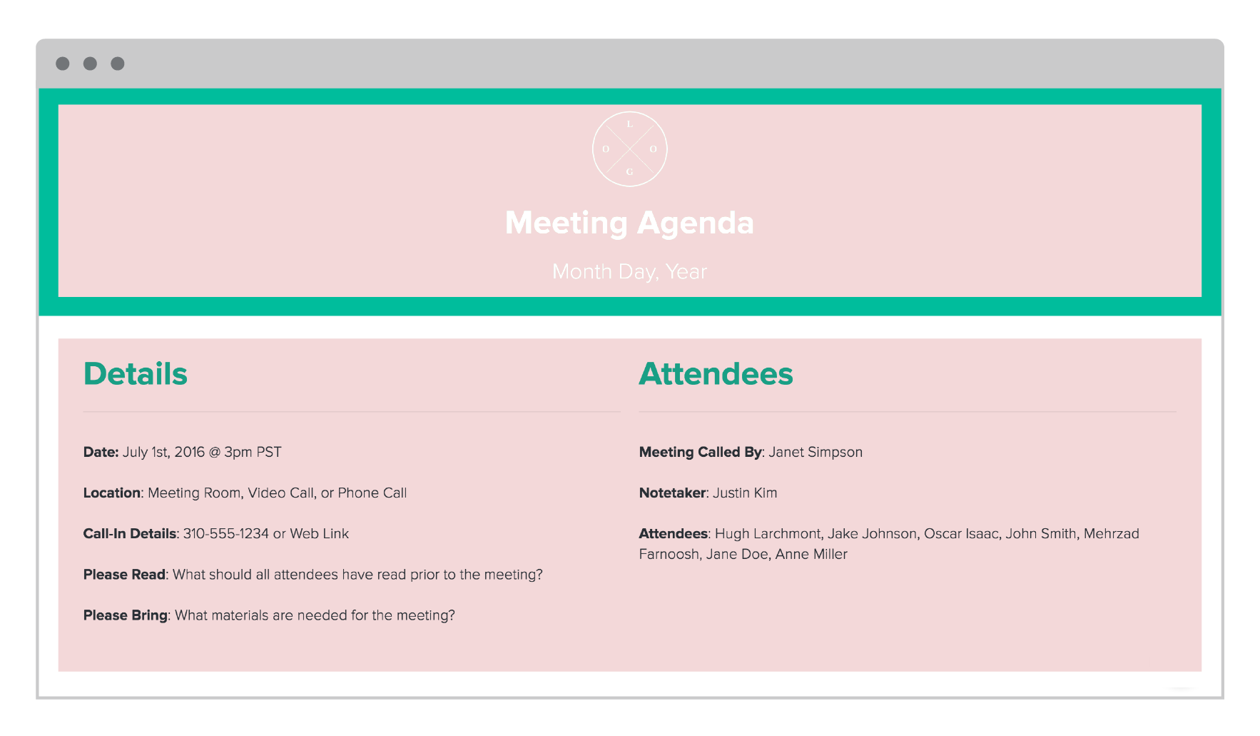 Meeting Agenda by Xtensio