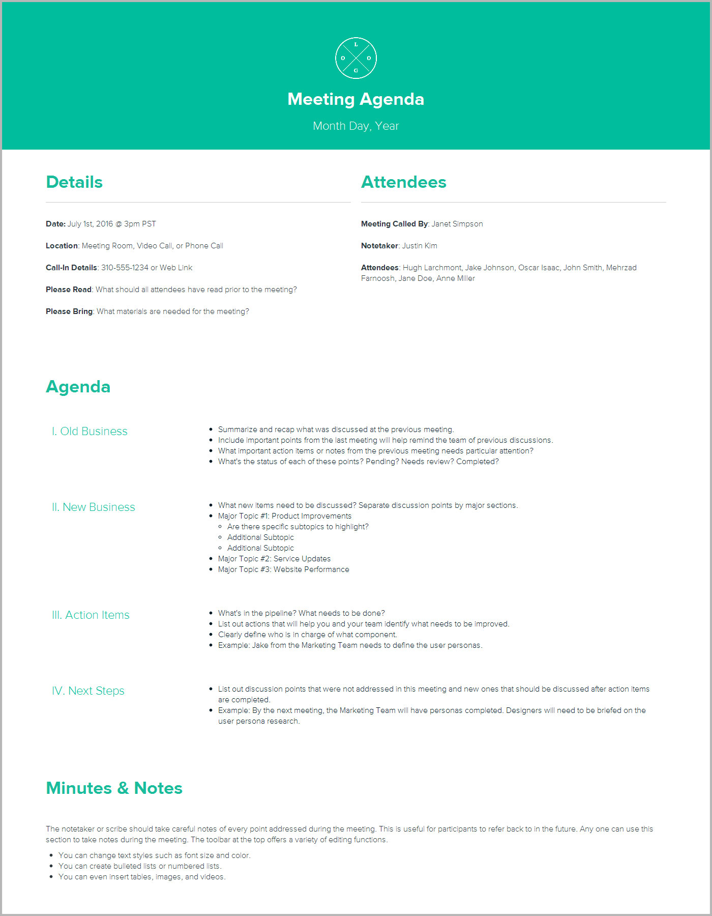 Meeting Agenda Template By Xtensio