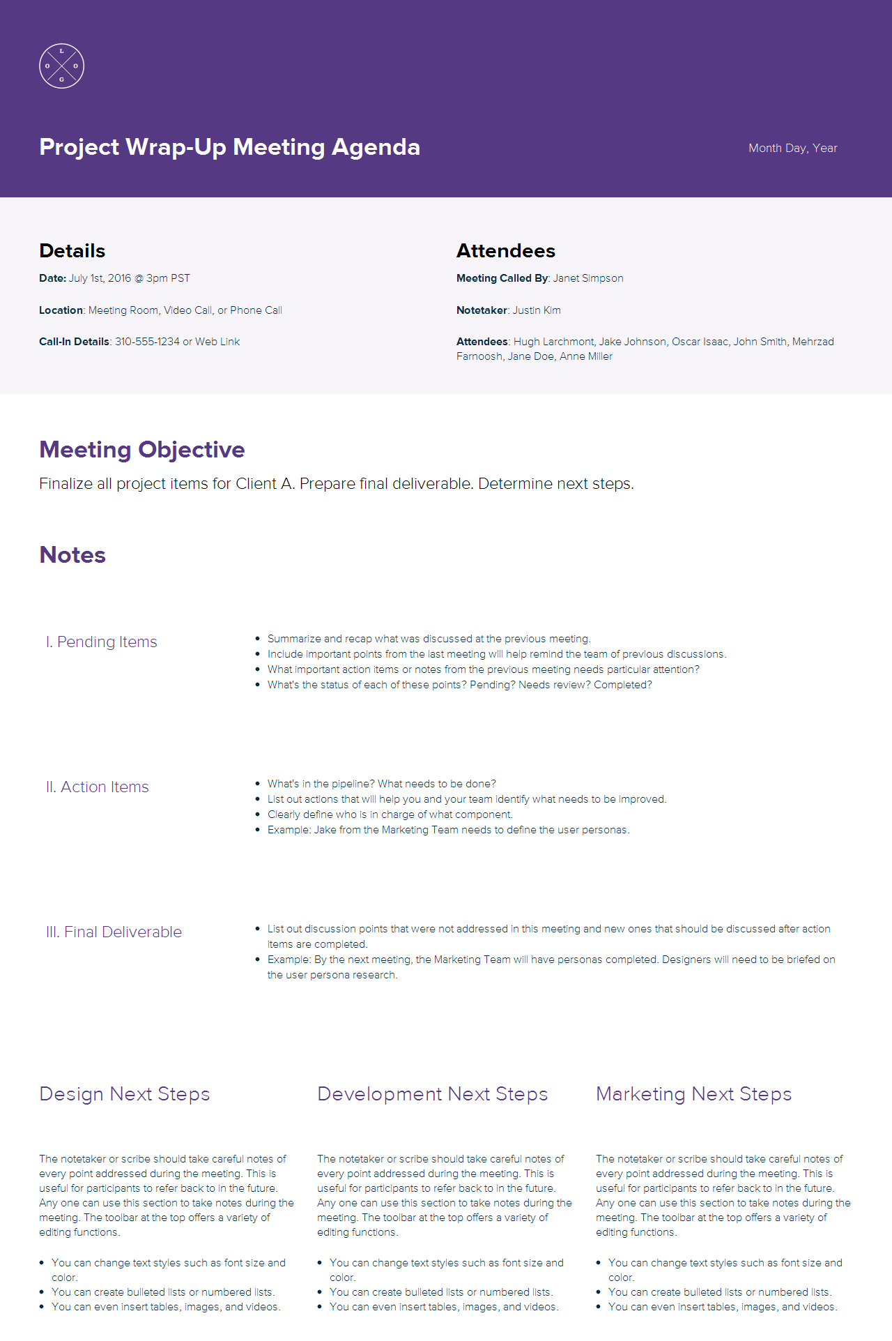 Project wrap-up meeting agenda sample by Xtensio