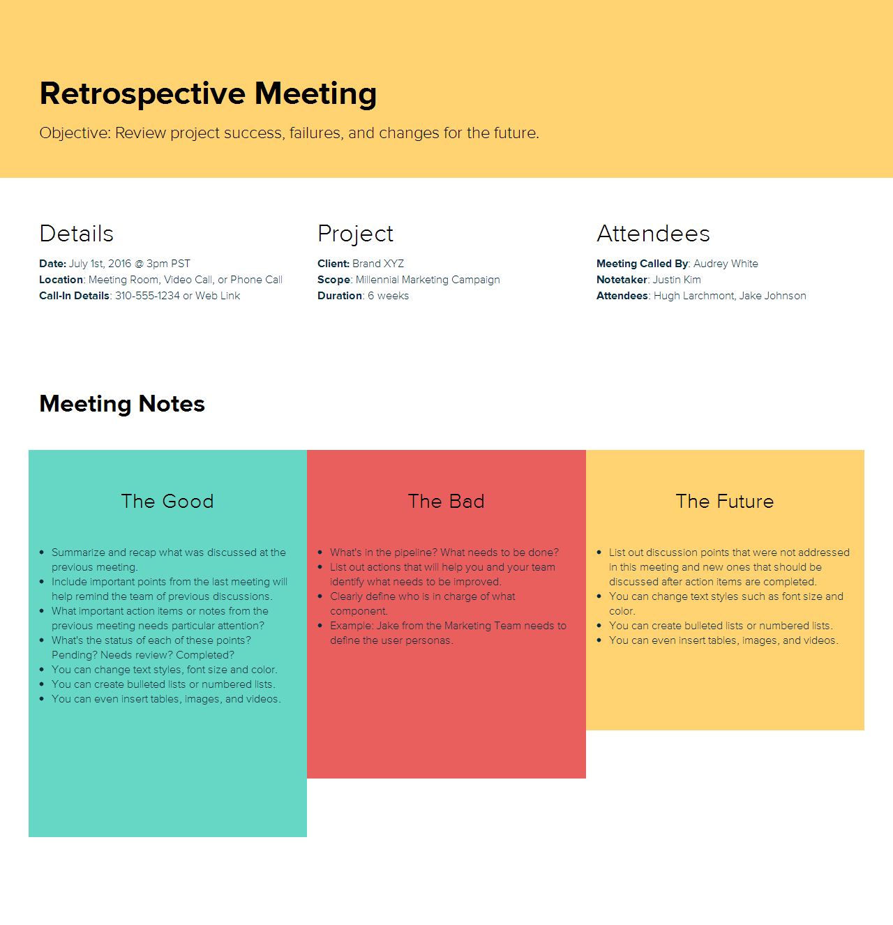 Retro Meeting Agenda sample by Xtensio