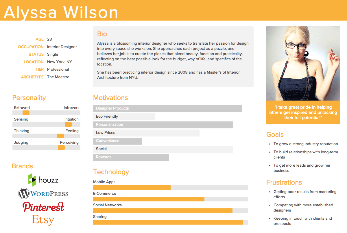 persona for brand positioning canvas