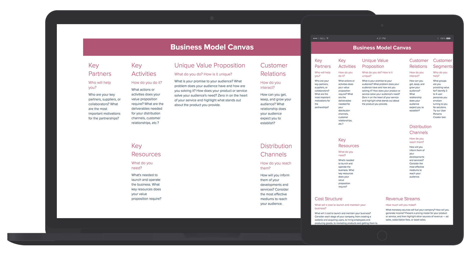 Free business model canvas template xtensio flashek