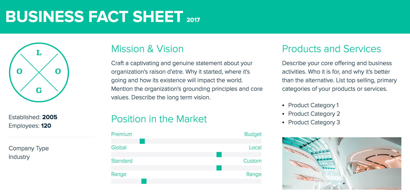 How to create a fact sheet xtensio fact sheet template wajeb Image collections