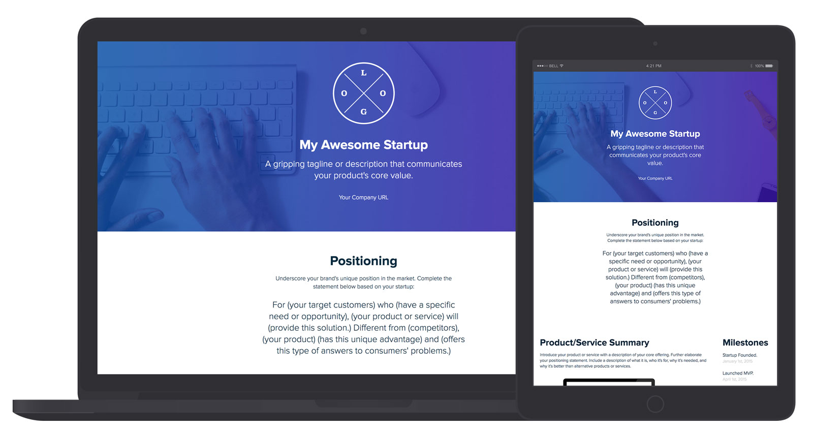 Startup One Pager Builder By Xtensio It S Free