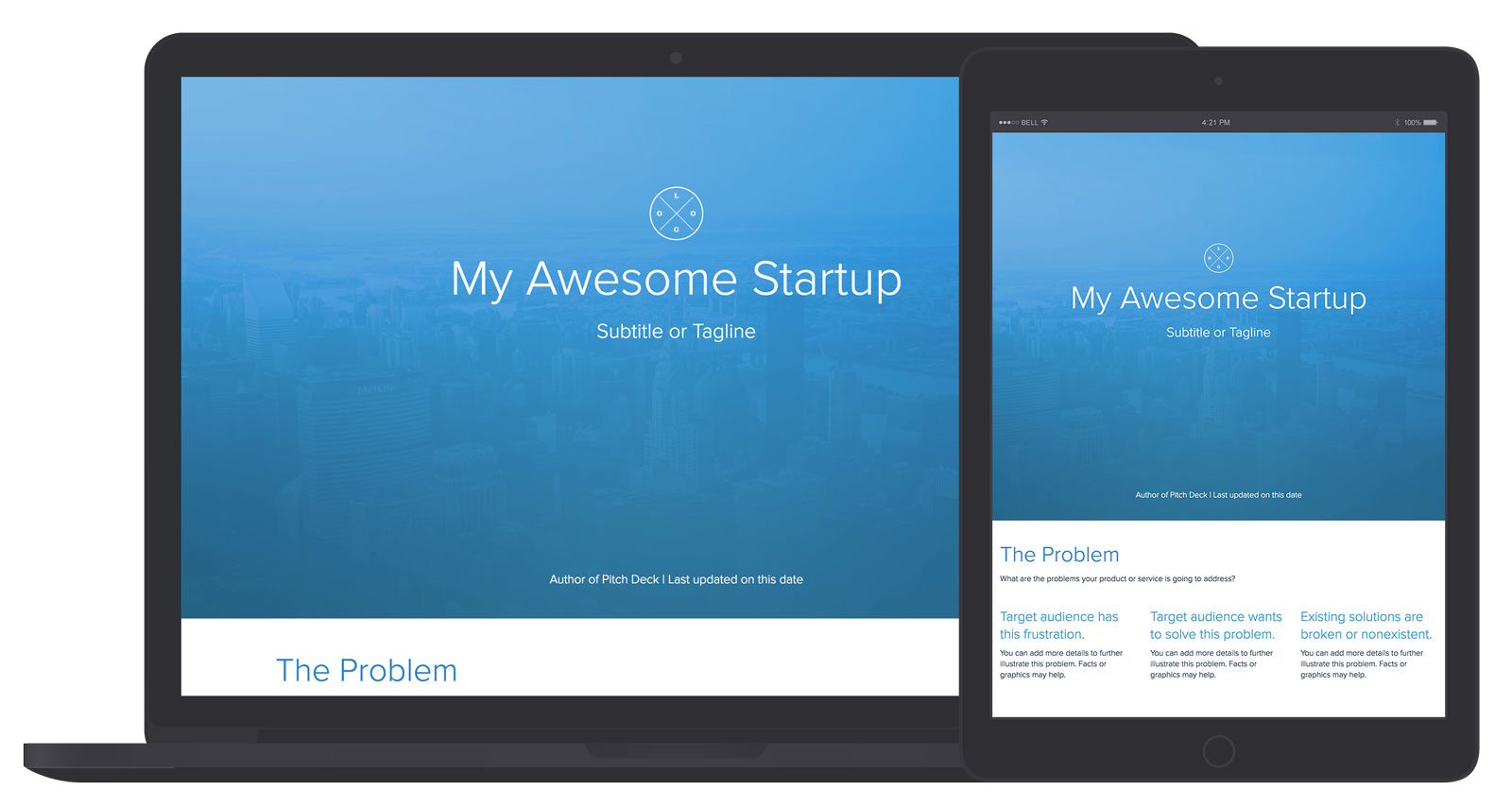 Pitch deck template and examples xtensio for Agency pitch template