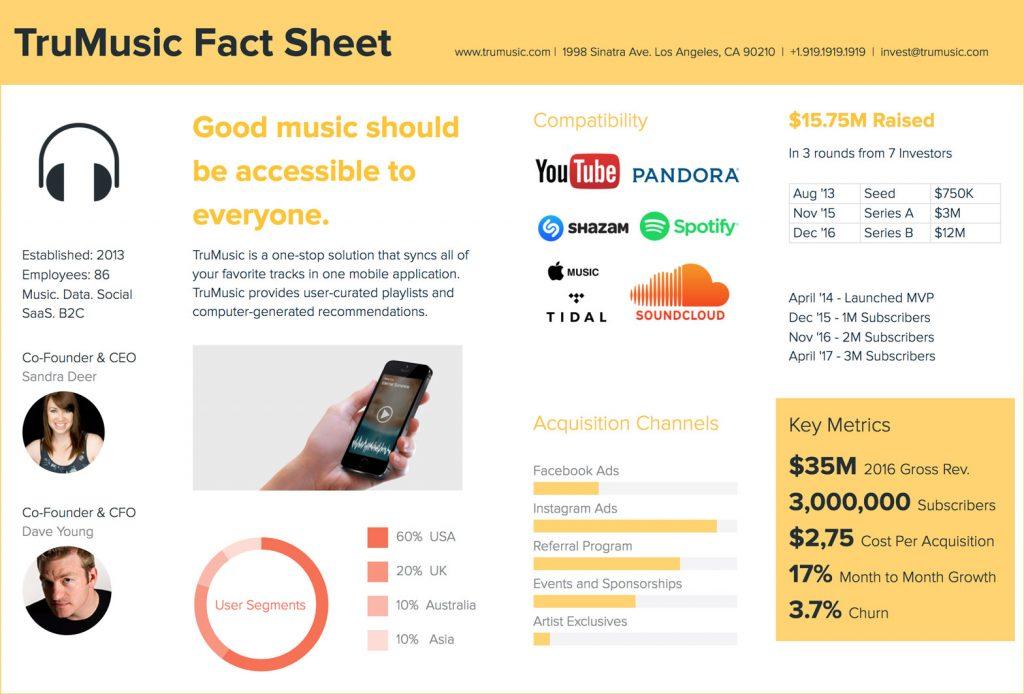 Startup Fact Sheet Example
