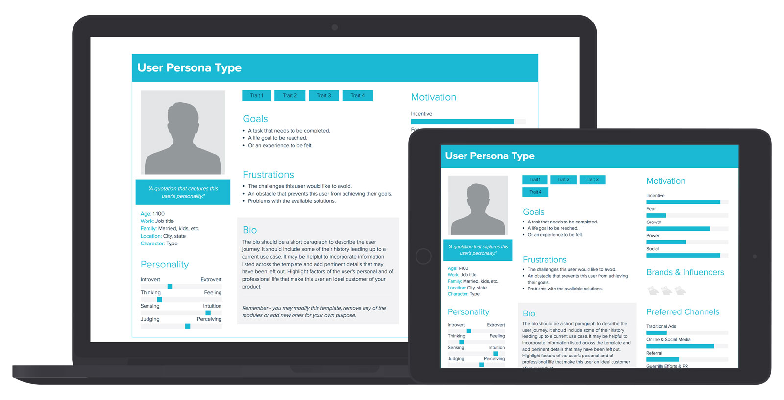 user persona template and examples xtensio