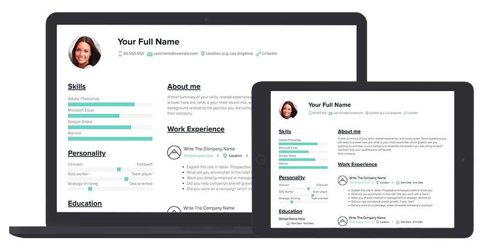 Free Resume Template And Examples Xtensio