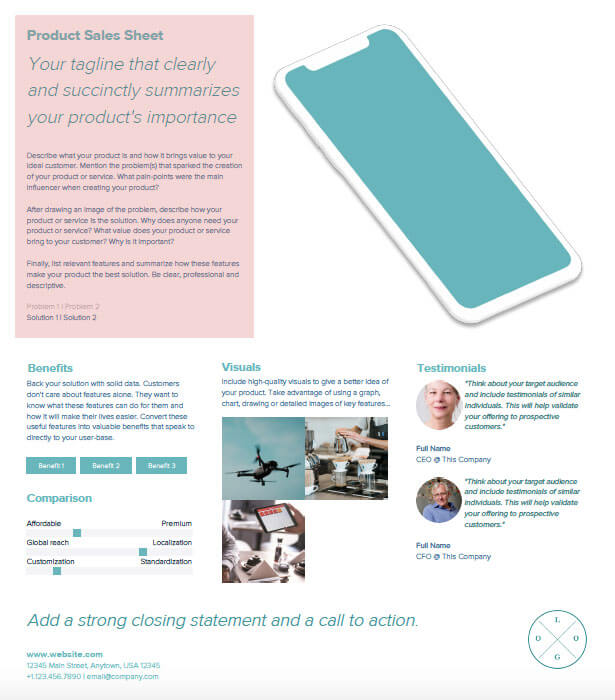 How To Create A Sales Sheet Xtensio