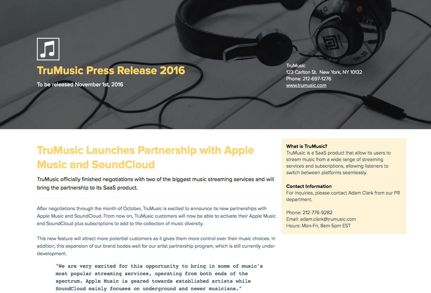 TruMusic Media Release