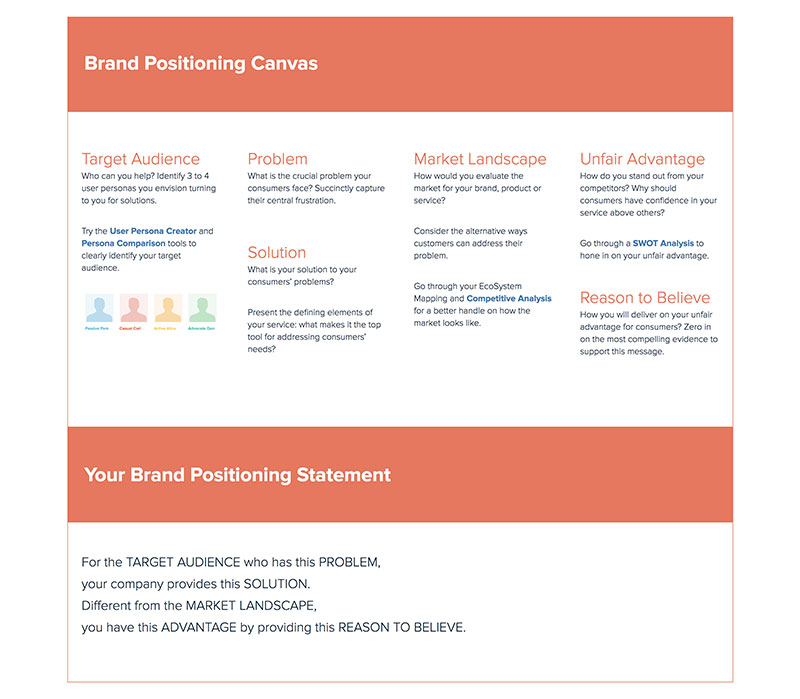 Brand Positioning Canvas Template