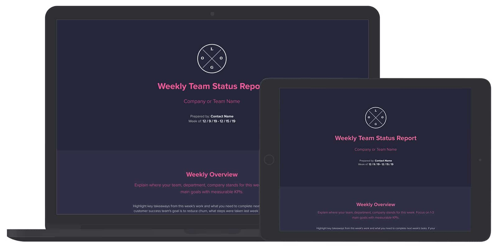 weekly team status report template