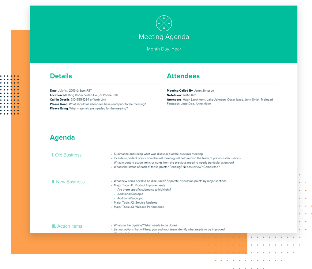 Free Meeting Agenda Template and Examples   Living Document   Xtensio